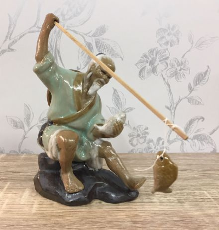 Ceramic Traditional Chinese Fisherman - Sitting, Green